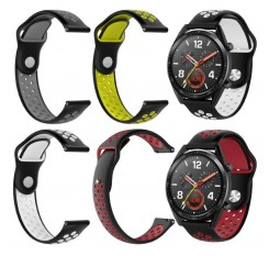 Double Color Rubber Watchband Fashion Silicone Replacement Strap Band for Huawei Magic/Watch GT/Ticwatch Pro Wrist Bracelet