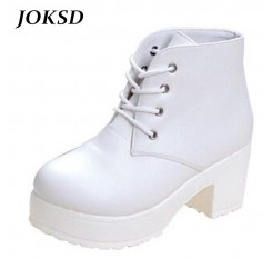 JOKSD Women Boots 2017 New Fashion Black&White Punk Rock Lace Up Platform Heels Ankle Boots thick heel platform shoes  X54