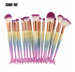 1-16PCS Big Mermaid Makeup Brushes Set Foundation Blending Powder Eyeshadow Contour Concealer Blush Cosmetic Beauty Make Up Tool