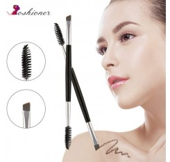 1 PCS Cosmetic Black Double-End Angled Mascara Brush for Eyebrow