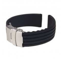 18/ 20/22/24mm reloj hombre Silicone Rubber Watch Strap Deployment Buckle Waterproof Band