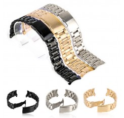 18/20/22/24mm Curved End Watch Band Unisex Stainless Steel Metal Wristwatch Strap Double Fold Deployment Clasp Bracelet 3 Colors