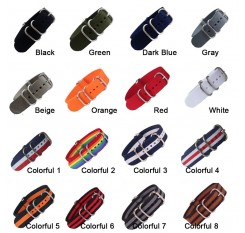 18mm 20mm 22mm 24mm Army Sports Nato Strap Fabric Nylon Watchband Buckle Belt for 007 James Bond Watch Bands Corlorful Rainbow