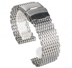 18mm 20mm 22mm 24mm Stainless Steel Milanese Shark Mesh Watch Band Strap Silver Bracelet for Omega Tissot Seiko Watchband