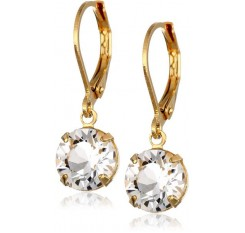 1928 Jewelry 14k Gold-Dipped Dangle Drop Earrings with Swarovski Crystals