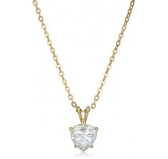 """1928 Jewelry 14k Gold-Dipped Heart-Shaped Cubic Zirconia Adjustable Pendant Necklace, 16"""""""