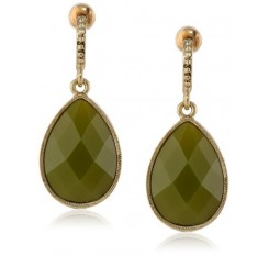 1928 Jewelry Domenica Gold-Tone Green Faceted Pear Shape Drop Earrings