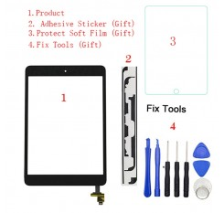 1Pcs For iPad Mini 1 Mini 2 A1432 A1454 A1455 A1489 A1490 A149 Touch Screen Digitizer Sensor+IC Chip Connector Flex+Key Button