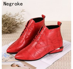 2018 Fashion Women Boots Casual Leather Low High Heels Winter Shoes Woman Pointed Toe Rubber Ankle Boots Black Red Zapatos Mujer