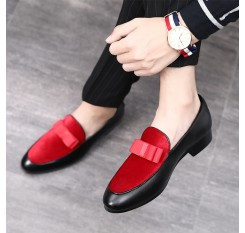 2018 Gentlemen Bowknot Wedding Dress Male Flats Casual Slip on Shoes Black Patent Leather Red Suede Loafers Men Formal Shoes