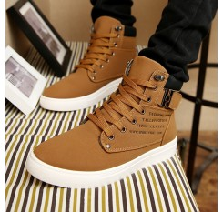 2018 Hot Men Boots Fashion Warm Winter Men shoes Autumn Leather Footwear For Man New High Top Canvas Casual Shoes Men