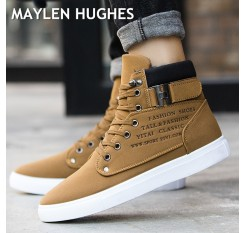 2018 Hot Men Boots Fashion Warm Winter Snow Boots Men shoes Autumn Leather Footwear For Man New High Top Canvas Casual Shoes Men