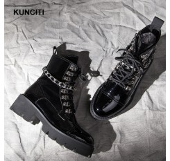 2018 KUNCITI Women Luxury Leather Boots Lace Up Fashion Chain Shoes Med Heel Studded Leather Shoes Western Boots Women D226