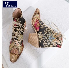 2018 New Women Luxury Silk Boots Martin Ankle Boots New Autumn Winter Embroider Womens Motorcycle Boots Lace Up Shoes Woman