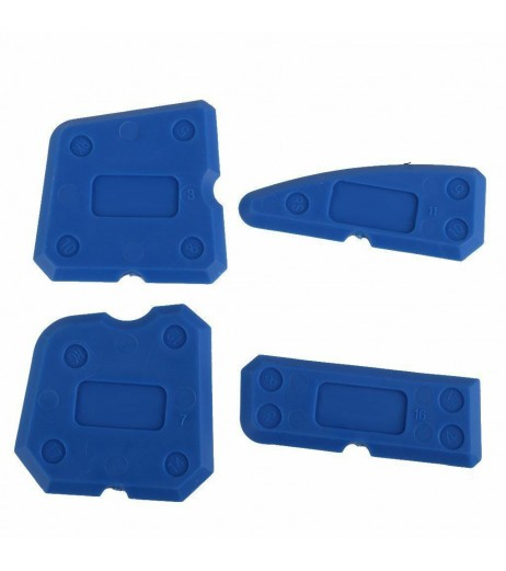 4PCS Caulking Tool Kit Joint Sealant Silicone Grout Remover Scraper Blue