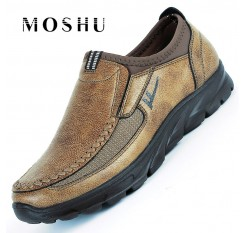 Antumn Winter Men Leather Flats Shoes Loafers Casual Shoes Male Breathable Zapatos Hombre Plus Size 38-47 Mocassin Homme