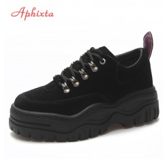 Aphixta Platform Shoes Women Ankle Boots Cross-tie Lace-up High Quality Height Increasing Lady Shoes Suede Fashion Martin Boots