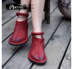 Artmu Original New Women Boots Retro Comfortable Round Toe Flat Ankle Boots Soft Sole Handmade Buckle Shoes 174205L