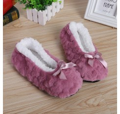 Autumn Winter Women's Indoor Slippers Bowknot Warm Plush Casual Girls Cute Non-slip Home Shoes One Size 25cm 6O0288