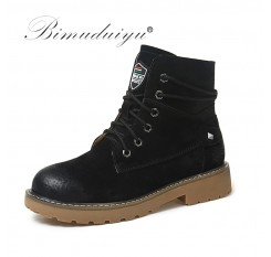 BIMUDUIYU Brand Autumn Winter Genuine Leather Pig Suede Ankle Boots High Quality Wipe Color Fashion Women's Boots New Snow Boots