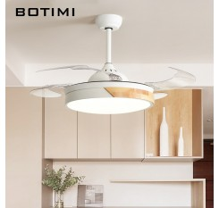 Botimi Modern Ceiling Fans with Lights For Living Room 42 Inch Remote Control Ceiling Fan Lamp 36Inch Bedroom LED Ventilator