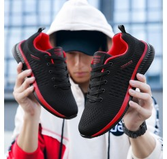 Breathable Casual Shoes Men Comfortable Walking Shoes Lightweight Sneakers Black Footwear Men Lace Up Running Shoes Men Big Size
