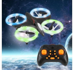 D6 Mini Neon Drone RC Quadcopter Aircraft with Altitude Hold 3D Flip LED Light Headless Mode 360'Flip for Kids Toy
