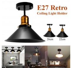 E27 Ceiling Lights Loft Vintage Round Retro Ceiling Light Industrial Design Edison Bulb Home Bar Cafe Shop Lighting Fixture