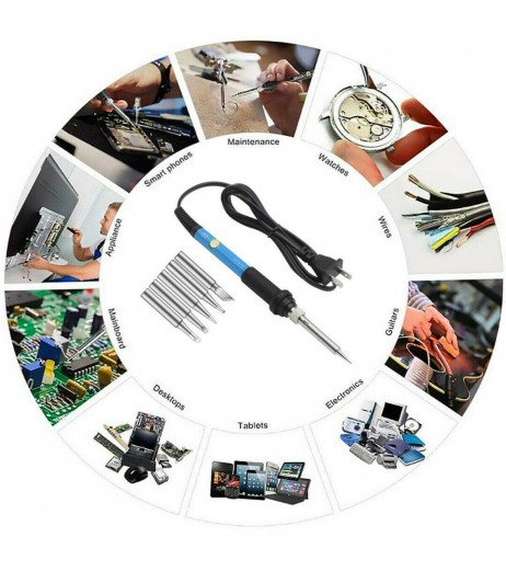 Electric Soldering Iron 60W Adjustable Temperature Welding Kit Switch Tool