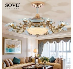 European Modern LED E14*8 Invisible Retractable Ceiling Fans With Light Living Room Folding Ceiling Fan Lamp Remote Control