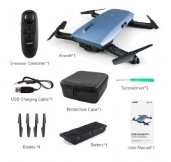 JJRC H47 ELFIE Plus FPV with HD Camera Upgraded Foldable Arm WIFI 6-Axis RC Drone Quadcopter Helicopter Brown Blue Multi Battery
