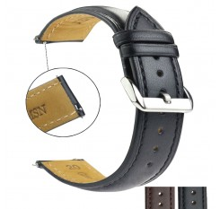 ZLIMSN Real Leather Watchband Black Brown Smooth Women's Watch Band 22mm 20mm Men's Genuine Leather Straps Belt Metal Pin Buckle