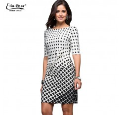 Geometric Dress Tunic  Women's Clothing Plus Size Spring OL Dresses For Work Fashion Black White Dress Vestidos 8622