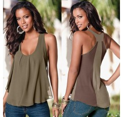 # Vestido 2019 Women Sexy Chiffon Sleeveless Blouse Camisa feminina Ladies Sexy Loose Casual Vest Tank Summer tops17