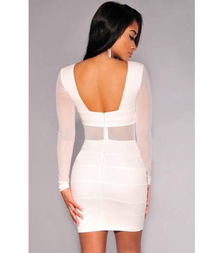 2016 New Novelty Long Sleeve Sexy Party Dresses Women Backless Bodycon Bandage Dress Hollow Out Black White Club Dresses S1453