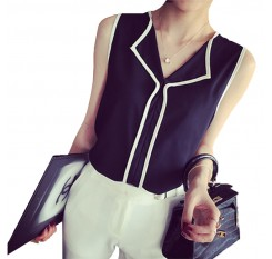 2016 Summer Fashion Womens Casual White V Neck Sleeveless Black Side Chiffon Blouse Shirt Work Wear Women Tops
