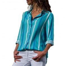 2019 Spring Sexy V-neck Women Chiffon Blouse Long Sleeve Ladies Tops Plus Size Casual Shirts  Womens Tops and Blouses